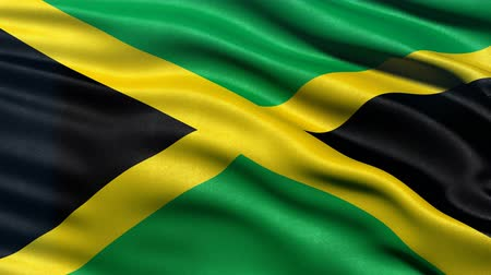 Seamless loop of flag of Jamaica waving in the wind with highly detailed fabric texture. Stock Footage