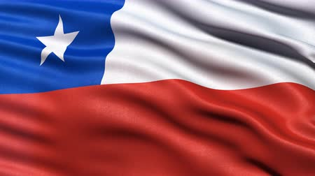 Seamless loop of flag of Chile waving in the wind with highly detailed fabric texture.
