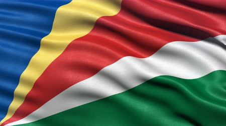 Seamless loop of the Seychelles flag waving in the wind. Realistic loop with highly detailed fabric. Stock Footage