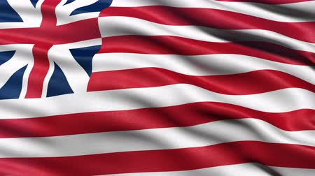 Seamless loop of the Grand Union flag. Also known as the Continental Colors, Congress Flag, Cambridge Flag and the First Navy Ensign it is considered the first national flag of the United States. Stock Footage