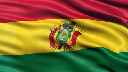 Seamless loop of Bolivia flag waving in the wind. Realistic loop with highly detailed fabric.