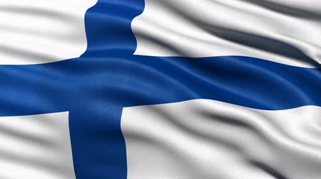 fince : Seamless loop of Finland flag waving in the wind. Realistic loop with highly detailed fabric.