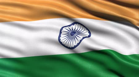 bandeira : Seamless loop of India flag waving in the wind. Realistic loop with highly detailed fabric.