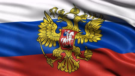 Seamless loop of Russia flag with coat of arms waving in the wind. Realistic loop with highly detailed fabric.