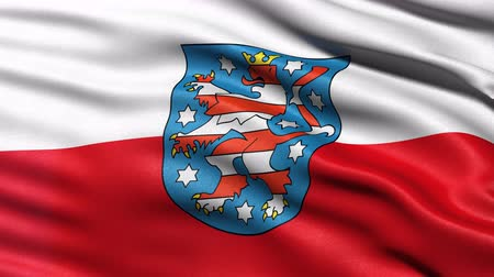 Seamless loop of Thuringia state flag in Germany waving in the wind. Realistic loop with highly detailed fabric. Stock Footage