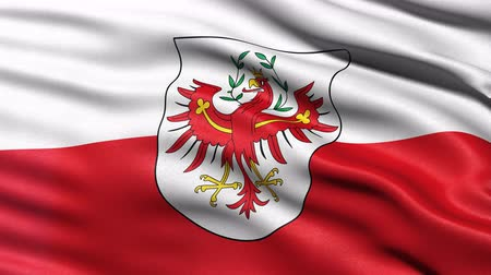 Seamless loop of Tyrol state flag in Austria waving in the wind. Realistic loop with highly detailed fabric.
