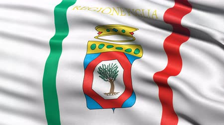 Seamless loop of Apulia, the regional flag in Italy waving in the wind. Realistic loop with highly detailed fabric.