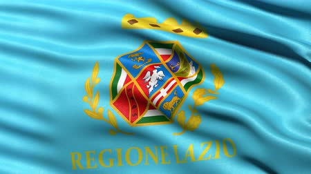 Seamless loop of Lazio, the regional flag in Italy waving in the wind. Realistic loop with highly detailed fabric.