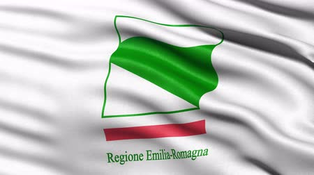 Seamless loop of Emilia-Romagna, the regional flag in Italy waving in the wind.