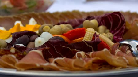 cold : Catering of cold cuts with ham, vegetables and fruits for event.