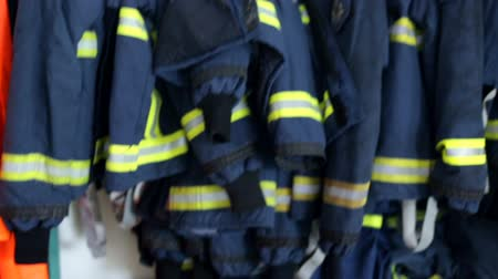 firemen : Close look on equipment which fire-fighters use in everyday saving lives of millions of people around the world. High quality fire-fighter equipment. Stock Footage