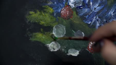 ilustração e pintura : Painting a picture in slow motion Stock Footage