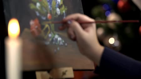 basit : Focus from real gifts under Christmas tree to painted Stok Video
