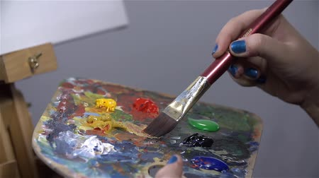 artistas : Artist mixing different colors on palette Vídeos