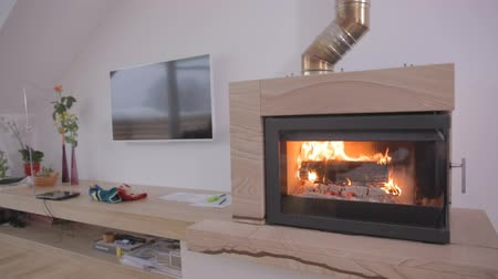 daireler : New Room With Fireplace Stok Video