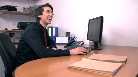 mobbing : Young Business Man Happy At Work in Office