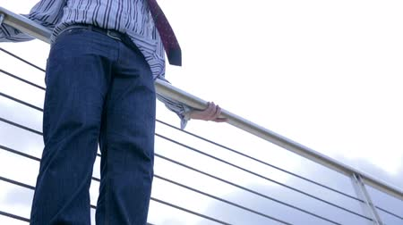 bordas : Businessman Doing Suicide Jump From Bridge Stock Footage