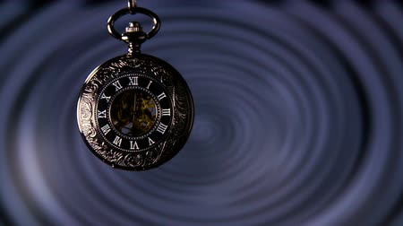 helezon : Hypnosis Pocket Watch Slow Motion. Antique pocket clock with hypnosis background.
