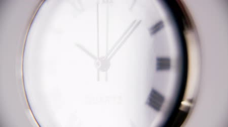 clock hands : Slow motion Clock ticking. Macro ticking classic pocket clock on white background.