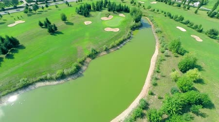 поле для гольфа : Flying around small lake on a golf course Стоковые видеозаписи