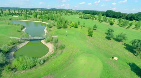 slovenya : Aerial of golf course with person playing