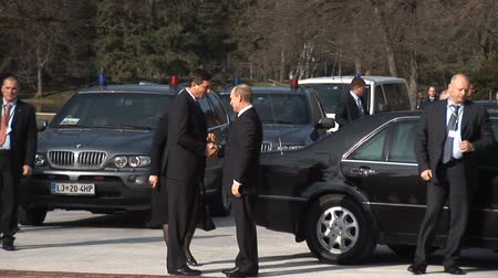 authoritarian state : LJUBLJANA, SLOVENIA - NOVEMBER 27 - Russian Prime minister Vladimir Putin visits Slovenian Prime minister Borut Pahor in 2011. Vladimir Puting stepping out of the car handshake with Borut Pahor