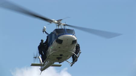 copter : Special Police squad helicopter in action with armed man