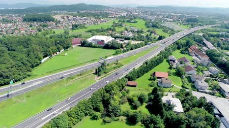 otoyol : Aerial shot of highway splitting. Huge highway crossroads around Ljubljana city.