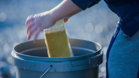 sünger : Kid put sponge in to bucket and continue clean car. Close up of young boy put sponge in to bucket of soaped water. Stok Video