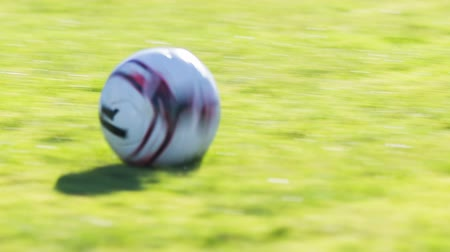 match : Soccer ball on green field close up. Person kicking soccer ball on green field outdoor close up. Stock Footage