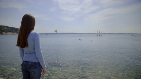 arka görünüm : Woman looking in distance at sea 4K. Behind the back view female person with long hair standing in front of seascape enjoying view on a sunny day. Birds flying on water surface.