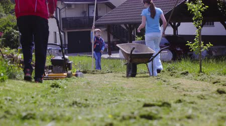 Woman orders boy to help raking but leaves . Preparing wheelbarrow to load with trimmed grass after person mowing around the yard. Stock Footage