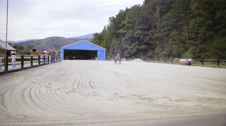 Big riding arena with western cowgirl in the middle 4K. Wide shot of competition manege with white sand on ground, one rider making a spin trick to receive ponts in reining competition.