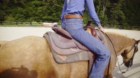 Cowgirl riding pass the camera in riding arena 4K. Female western rider next to wooden fence, panning with person while ridding over the camera with bright brown horse. Stock Footage