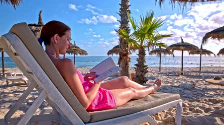 Reading book and entertained by a cat on the beach. Woman lying on lounger and reading a book at a beautiful beach. A white cat jumping on the sand around umbrellas.