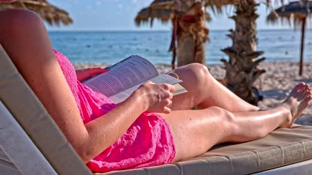 Learning while lying at the beach. Female person lying on lounger and flipping through book pages, marking one. Sea and a palm tree in background.