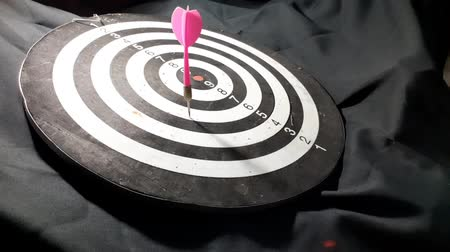dart board   on black background.video taken in malaysia 動画素材