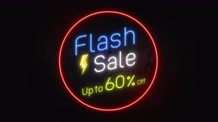 flash sale : Flash sale 60% 4K .Neon sign banner promo background. Concept of sale and clearance.