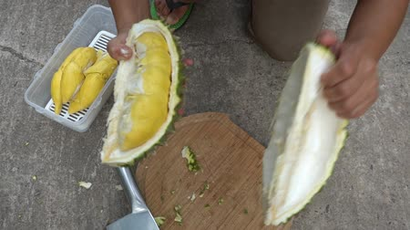 странный : How to peel durian fruit easy peel tear sheath durian Стоковые видеозаписи