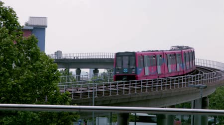 docklands : DLR docklands station in London Stock Footage