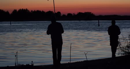 fisher : Fishers fishing on sunrise Stock Footage