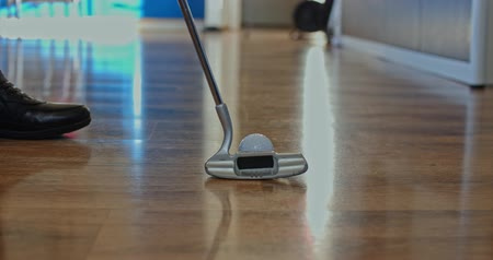 golf clubs : Mini golf at home close-up Stock Footage