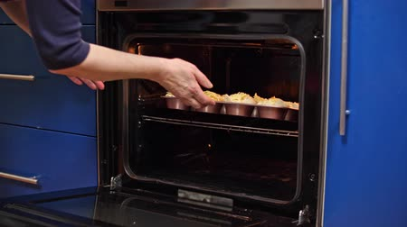 meat pie : Housewife put in the oven sausage cheese bake, close up Stock Footage