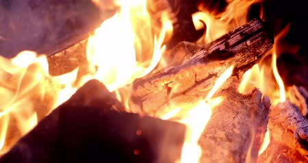 engulfed : Fire in the fireplace closeup Stock Footage