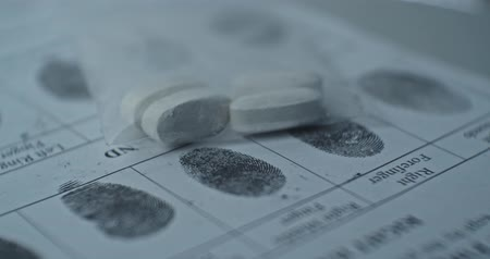 Fingerprints card and drugs, CSI.