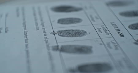 criminology : Fingerprints card close up in motion, CSI.