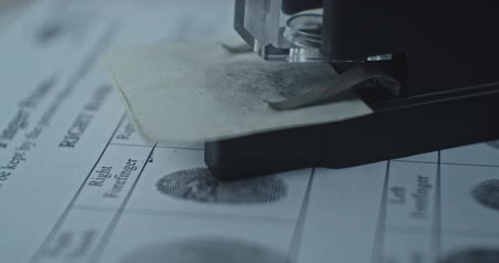 sheriff : Fingerprints card and microscope close up in motion, CSI.