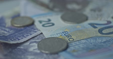 euro banknotes : Curenncy mix PLN, EUR, SEK close up