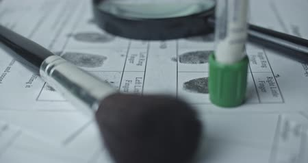 police sign : Fingerprints card and magnifier close up in motion, CSI.