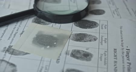 sheriff : Fingerprints card close up in motion, CSI.